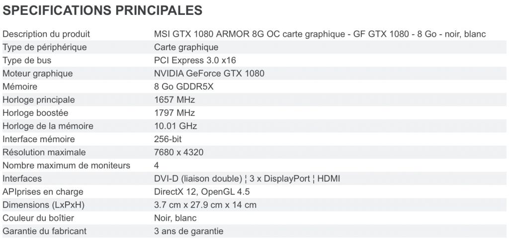 GTX1080ArmorSpecs