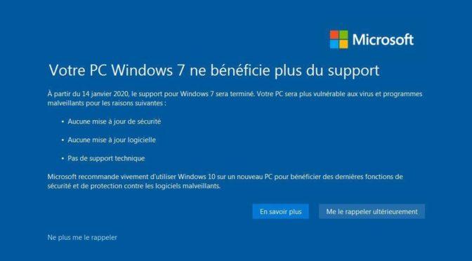 Windows 7 c'est la fin ?